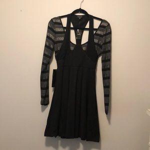 bebe Black/Silver Halter Strap A-Line Dress Med